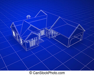 Blueprint house - Blueprint style 3D rendered house. White...