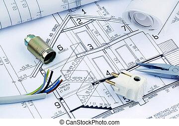 blueprint, house., elétrico