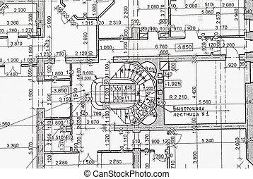 Blueprint - House plan blueprints close up