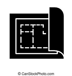 blueprint - house plan project icon, vector illustration, black sign on isolated background