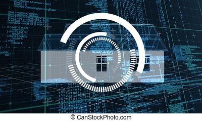 Blueprint house rotating against grid