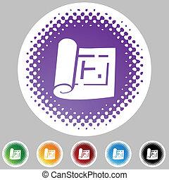 Blueprint Icon Set - Blueprint icon set isolated on a white...