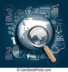blueprint, illustration.focus, sucesso, negócio, concept., idéia, estratégia, plano, mundo, doodles, linha, magnifier.vector, desenho