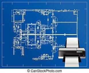 blueprint, impressora, ilustração