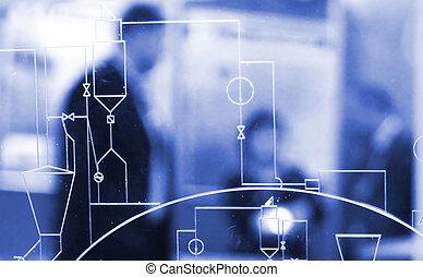 Blueprint - Indutrial blueprint on a glass