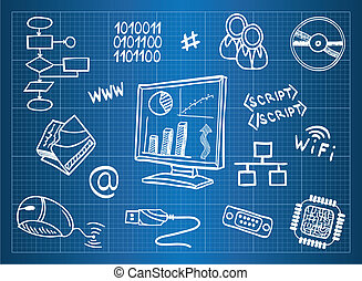 blueprint, informação, hardware, computador, símbolos,...