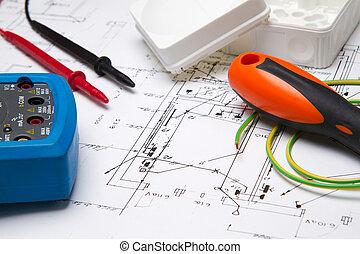 blueprint, instrumentos, elétrico