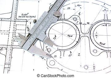 blueprint., klämma, horizontal.