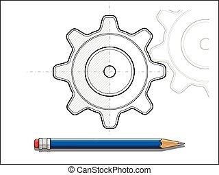 blueprint, lápis, vetorial, engrenagem, ilustração