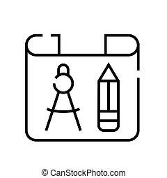 Blueprint line icon, concept sign, outline vector illustration, linear symbol.
