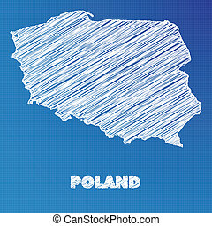 Blueprint map of the country of Poland