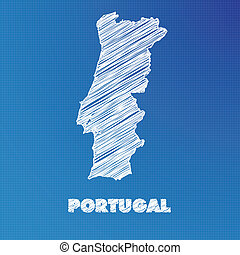 Blueprint map of the country of Portugal