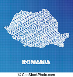 Blueprint map of the country of Romania