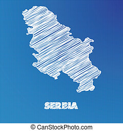 Blueprint map of the country of Serbia