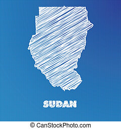 Blueprint map of the country of Sudan