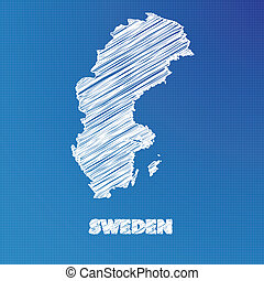Blueprint map of the country of Sweden