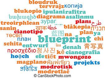 Blueprint multilanguage wordcloud background concept