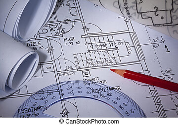 blueprint of a residential building. house building