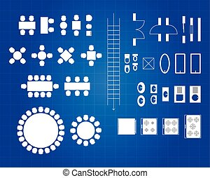 Blueprint Of Architectural Icons