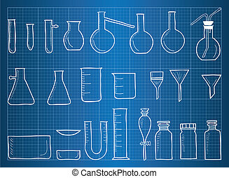 Blueprint of chemical laboratory equipment and glass