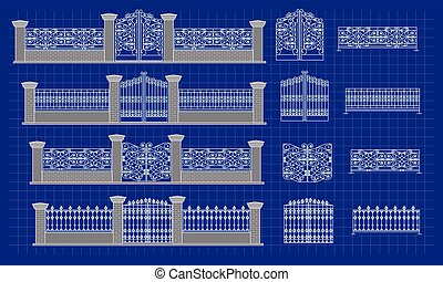 Blueprint of fence - architectural details