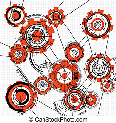 gears and cogwheels - blueprint of gears and cogwheels on...