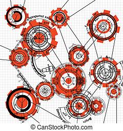 gears and cogwheels - blueprint of gears and cogwheels on...