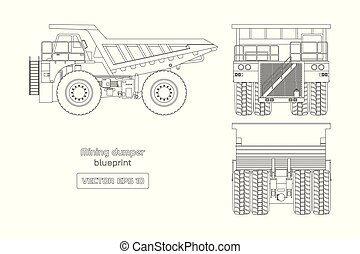 Blueprint of mining dumper on white background. Side, back and front view. Outline heavy truck image. Industrial drawing of cargo car. Diesel automobile blueprint