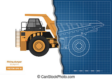 Blueprint of mining dumper. Side, back and front view. Outline heavy truck image. Industrial drawing of cargo car. Diesel automobile blueprint