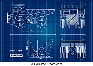 Blueprint of mining dumper. Side, back and front view. Outline heavy truck image. Industrial drawing of cargo car. Diesel automobile blueprint.