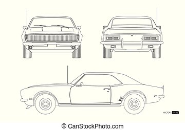 Blueprint of retro car. American vintage automobile of 1960s in outline style. Front, side and back view. Classic auto. Vector illustration