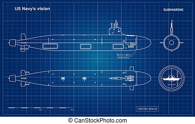 Blueprint of submarine. Military ship. Top, front and side...