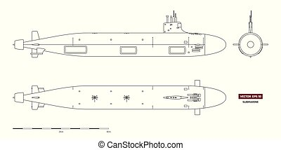 Blueprint of submarine. Military ship. Top, front and side view. Battleship model. Industrial drawing. Warship in outline style. Vector illustration