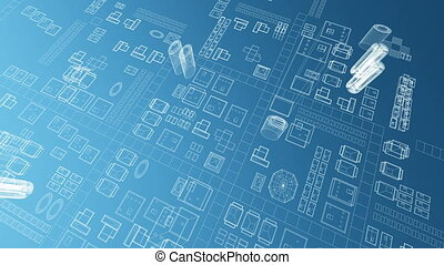 Blueprint of virtual growing city 4K - A blueprint of a...