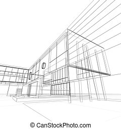 Blueprint on white. My personal architectural project