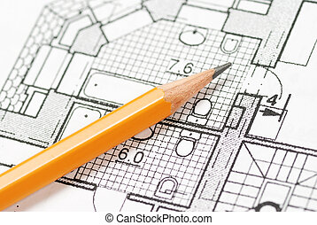 Blueprint - Pencil over house plan blueprints