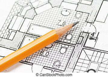 Blueprint - Pencil over house plan blueprints