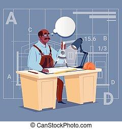 blueprint, predios, trabalhando, sentando, construtor, americano africano, plano arquiteto, escrivaninha, caricatura, engenheiro