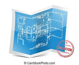 blueprint, projeto, rejeitado