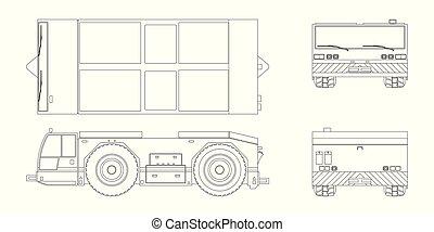 blueprint, reparar, lado, industrial, esboço, transport., aircraft., topo, costas, style., aeródromo, reboque, manutenção, veículo, vista., frente, avião