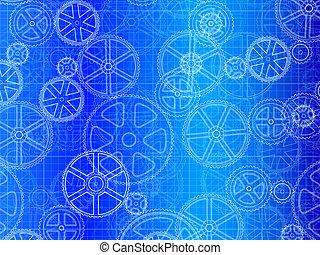blueprint, rodas, engrenagem