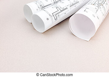 blueprint rolls of plans, architectural project