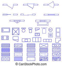 blueprint, símbolos, vetorial