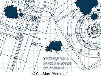 Blueprint, Sketch. Vector engineering illustration. Cover, flyer, banner, background. Instrument-making drawing. Blue Ink. Blots