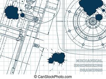 Blueprint, Sketch. Vector engineering illustration. Cover, flyer, banner, background. Instrument-making drawings. Mechanical drawing. Blue Ink. Blots