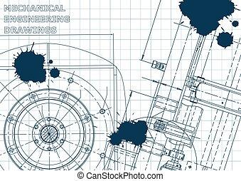 Blueprint. Vector engineering illustration. Cover, flyer, banner, background. Blue Ink. Blots
