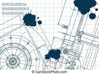 Blueprint. Vector engineering illustration. Cover, flyer, banner, background. Instrument-making drawings. Blue Ink. Blots