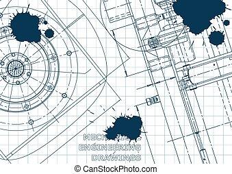 Blueprint. Vector engineering illustration. Cover, flyer, banner, background. Instrument-making drawings. Mechanical engineering drawing. Technical illustrations, background. Blue Ink. Blots