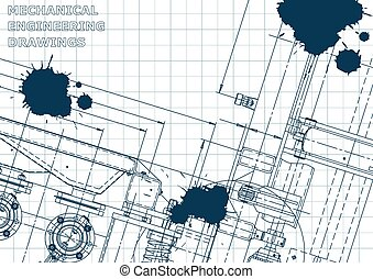 Blueprint. Vector engineering illustration. Computer aided design systems. Instrument-making. Blue Ink. Blots