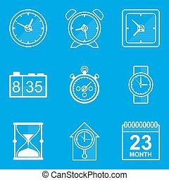blueprint, set., ícone, time., relógio
